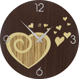 LOVE AMOUR WARM orologio da muro Lignis
