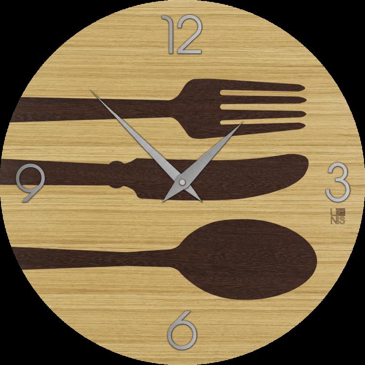 OBJECTS CUTLERY WARM orologio da parete in legno tondo colore ...